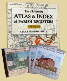 Parish Record CDs and a book locating Parish Registers